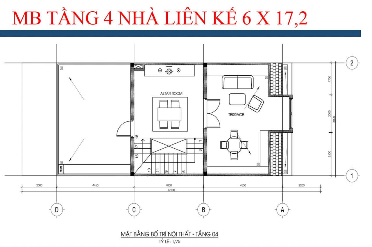 Mặt bằng tầng 4 loại 6mx17,2m